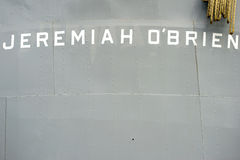 Liberty ship SS Jeremiah O'Brien. San Francisco, United States - December 21, 2015: The nameplate of the Liberty freighter SS Jeremiah O'Brien at the armored Royalty Free Stock Images
