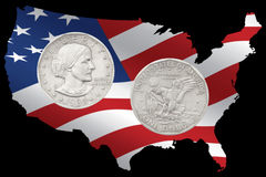 1980 Liberty Silver Dollar. With front and back images on a USA stars and stripes background stock photos