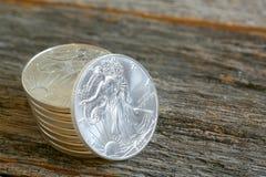 Liberty Silver Dollars que camina Fotos de archivo