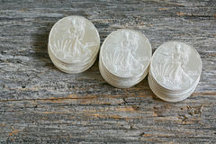 Liberty Silver Dollars que camina Imágenes de archivo libres de regalías