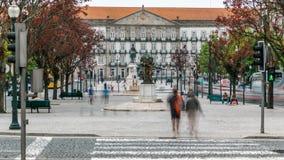 The Liberty Square in the historic centre of Porto stock video