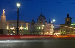 Liberty square heart of Lodz. Christmas evening scene from Liberty Square in Lodz Royalty Free Stock Photos