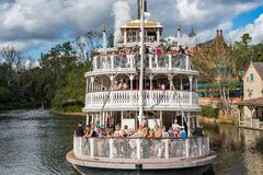 Liberty Square Riverboat, the Liberty Belle at the Magic Kingdom. Orlando, Florida: December 2, 2017: Liberty Square Riverboat, the Liberty Belle, at The Magic royalty free stock photo