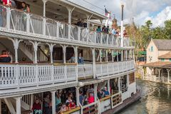 Liberty Square Riverboat at the Magic Kingdom, Walt Disney World. Orlando, Florida: December 2, 2017: Liberty Square Riverboat at The Magic Kingdom, Walt Disney royalty free stock photos