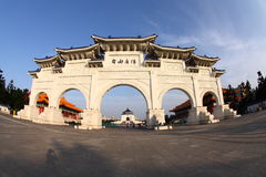 Liberty Square of Taipei. The Liberty Square of Taipei, Taiwan, with the National Opera and Chiang Kaishek Memorial Hall in the background. Shot with a fish eye Royalty Free Stock Photos
