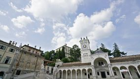Liberty Square in Udine. A time lapse view of Liberty square and the castle on the background in Udine, Italy stock footage