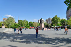 The Liberty Square, Yerevan, Armenia. YEREVAN, ARMENIA - MAY 02, 2015:The Liberty Square , the main location of anti-government rallies and can hold an estimated Royalty Free Stock Photos