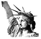 Liberty statue. Black ink hand drawn sketch of liberty statue Stock Images
