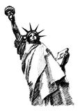 Liberty statue. Black ink hand drawn sketch of liberty statue Stock Photo