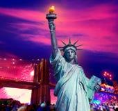 Liberty Statue Brooklyn bridge july 4th fireworks. Liberty Statue and Brooklyn bridge on july 4 th fireworks New York America photomount Stock Photo