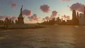 Liberty Statue at Ellis Island with New York skyline and vessels, tilt, time lapse stock video