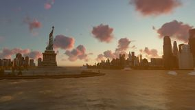 Liberty Statue at Ellis Island with New York skyline and vessels, time lapse. Hd video stock video