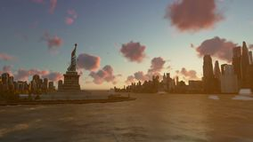 Liberty Statue at Ellis Island with New York skyline and vessels, zoom out, time lapse. Hd video stock footage