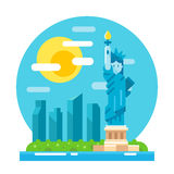 Liberty statue flat design landmark Royalty Free Stock Photography