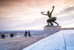 Liberty statue on Gellert Hill in Budapest, Hungary Stock Image