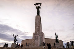 Liberty statue on Gellert Hill in Budapest, Hungary Stock Photos