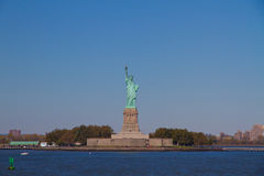 Liberty Statue holding. The torch, standing on Liberty Island Stock Images