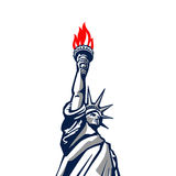 Liberty statue monument vector silhouette USA New Royalty Free Stock Images