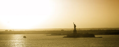 Liberty Statue in New York panorama Stock Photo