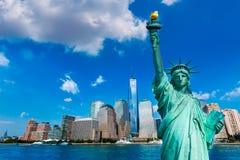 Liberty Statue and New York skyline US. Liberty Statue and New York skyline American Symbols USA photomount royalty free stock photos