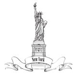 Liberty Statue, New York, USA. Hand drawn of american symbol. Royalty Free Stock Photo