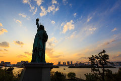 Liberty statue in Odaiba, Tokyo at sunset royalty free stock images