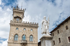 Liberty statue and public palace, San Marino republic, Stock Photography