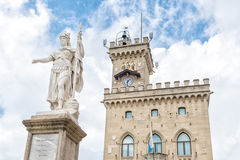 Liberty statue and public palace, San Marino republic, Royalty Free Stock Photography