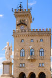 Liberty statue and public palace, San Marino republic, Italy Royalty Free Stock Images