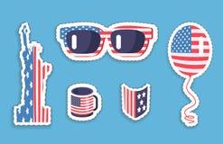 Liberty Statue Sunglasses Balloon in de Symboliek van de V.S. vector illustratie