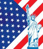 Liberty statue and US flag Stock Photo