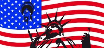 Liberty Statue and waving flag stock image