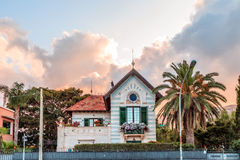 Liberty Stile. Art Nouveau or Liberty Stile villa building from the early 20th century at sunset in Mondello near Palermo, Sicily in Italy Royalty Free Stock Photos