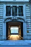 Liberty style building`s entrance in Turin, Italy. Art, architecture and history. Liberty style building`s entrance in Turin, Italy. Monster, decoration, urban stock images