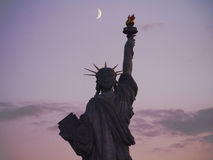 The Statue of Liberty under Paris moonlight Stock Images