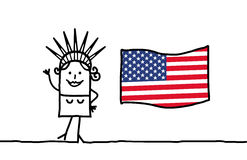 Liberty and USA flag. Vector hand-drawn characters line Stock Images