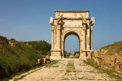 Libië â Magna Leptis, detail van reusachtige poort Stock Fotografie