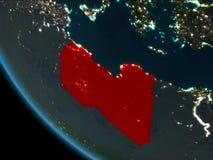 Libië bij nacht van baan Royalty-vrije Stock Afbeelding