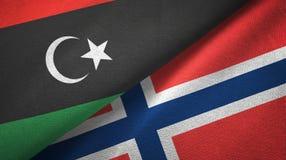 Libië en Noorwegen twee vlaggen textieldoek, stoffentextuur stock illustratie