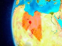 Libië ter wereld van ruimte Stock Afbeeldingen