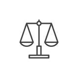 Libra, εικονίδιο γραμμών κλίμακας, διανυσματικό σημάδι περιλήψεων Στοκ εικόνα με δικαίωμα ελεύθερης χρήσης