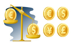 libra Ποσοστό νομίσματος Δολάριο, ευρώ, γεν, λίρα αγγλίας Στοκ εικόνα με δικαίωμα ελεύθερης χρήσης