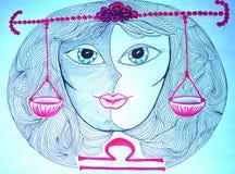 Libra знака зодиака Нарисовано вручную бесплатная иллюстрация