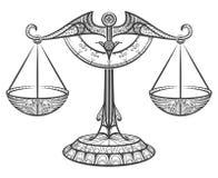 Libra зодиака нарисованный в стиле zentangle Стоковые Фото