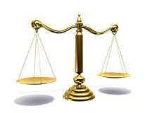 Libra. 3d illustration of a golden scale Stock Image