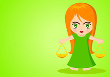 Libra. Cartoon illustration of Libra on green background Royalty Free Stock Photo