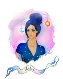 Libra  astrological sign as a beautiful girl. Illustration of libra zodiac sign as a beautiful girl Royalty Free Stock Image