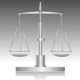 Libra-Balance. Silver balance. Measure instrument. Front view Stock Photography