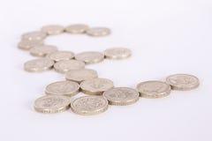 A libra britânica assina dentro moedas de libra Foto de Stock