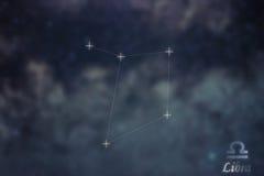Libra Constellation. Zodiac Sign Libra constellation lines Galax Stock Photography